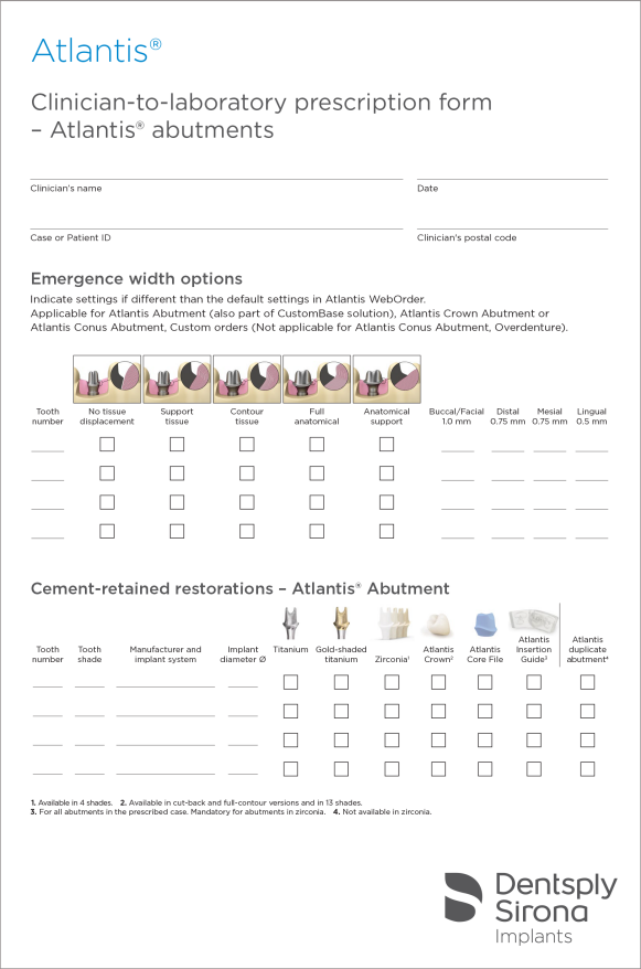 Atlantis abutments - Clinician-to-laboratory prescription form